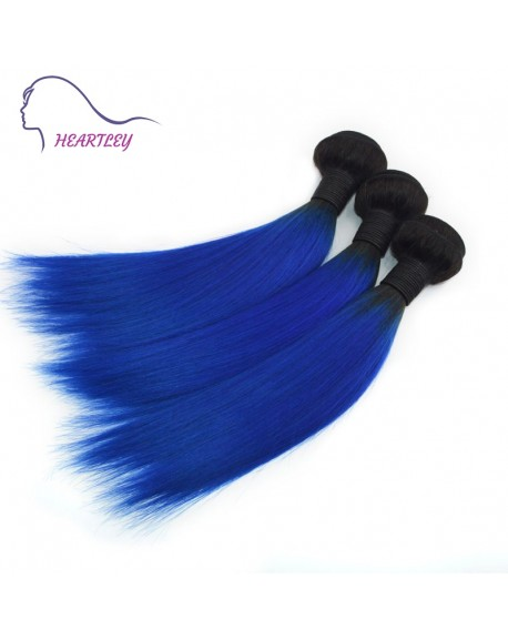 HEARTLEY Quality Virgin Brazlian Human Hair Ombre Black to Blue Straight Hair Extensions 3pcs/Pack