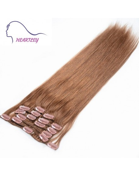 HEARTLEY Popular Brown Straight Virgin Brazilian Human Hair Clip In Extenisons