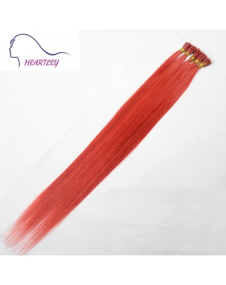 HEARTLEY 18 Inch Professional Salon Style I Tip Hair Extension Red Straight Pre-bonded Human Hair Extensions