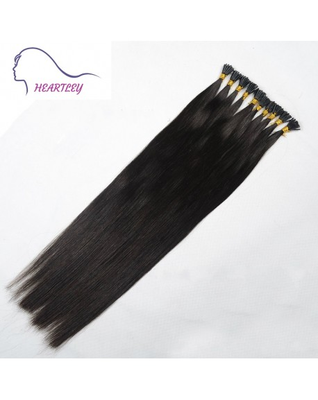 "HEARTLEY 18"" Virgin Brazilian Nature Black Straight 100 Strands Pre Bonded I Tip Hair Extensions"