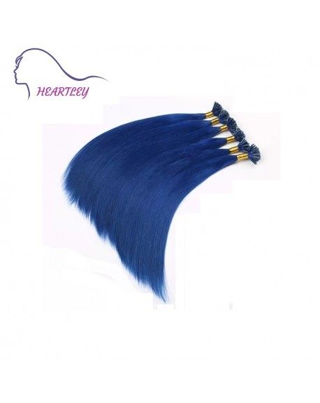 """HEARTLEY 18"""" Remy Human Hair U Tip With Blue Hot Fusion 100 Strands Straight Extensions"""