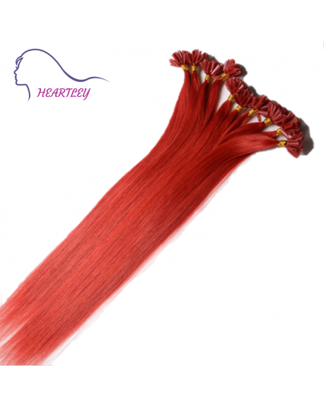 """HEARTLEY 18"""" Red Straight Hair Remy Hair Nail Shape 100 Strands U Tip Extensions"""