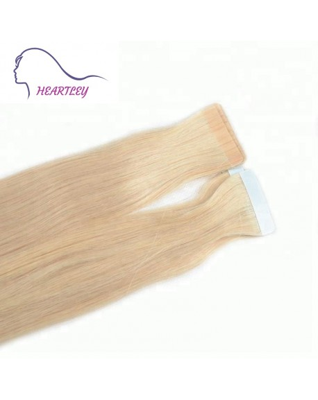 HEARTLEY Human Hair 18 inch Remy Straight Tape Extensions 40 Pieces Blonde 613 Tape in Extensions