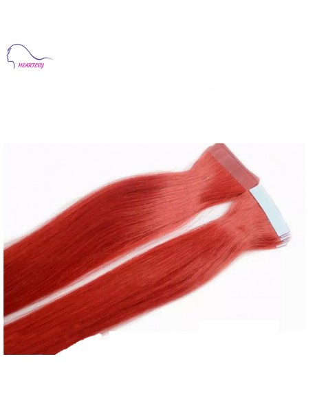 "HEARTLEY 18"" Tape In Red Straight Hair Extensions Remy Human Tape Hair"