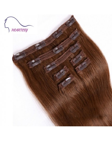 16 Inch Dark Brown Brazilian Human Hair Straight 9 Pieces Clip In Hair Extensions