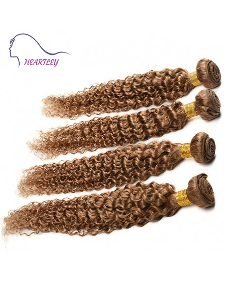20 Inch Brazilian Curly Human Hair Extensions Honey Blonde Hair Weave 4 Bundles