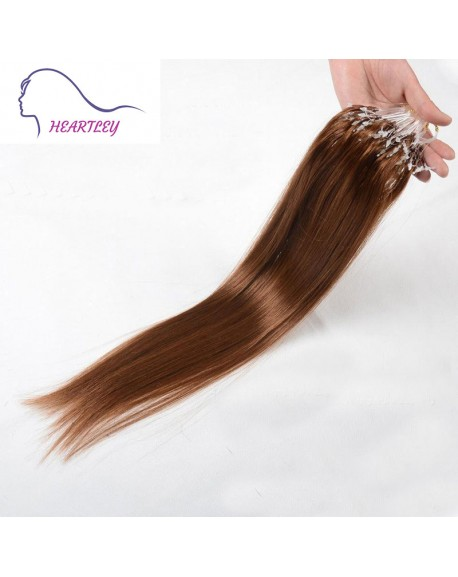 18 Inch Medium Brown Brazilian Human Hair Micro Loop Extensions Remy Hair