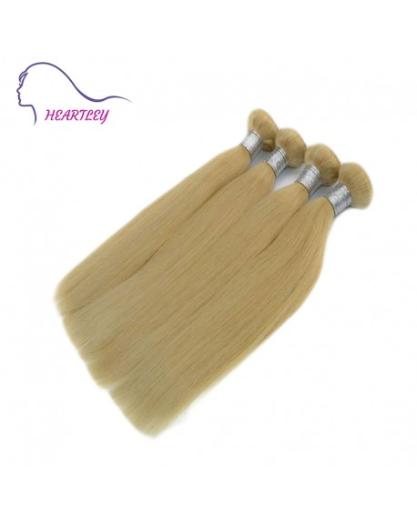 20 Inch Brazilian Remy Human Hair Light Blonde Nature Straight Hair Extensions