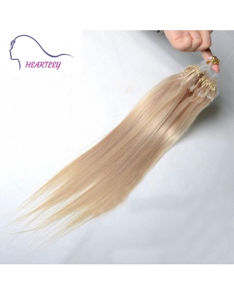 "18"" Blonde Brazilian Remy Hair Extensions Micro Ring Real Human Hair Straight"