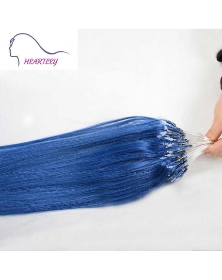 18 Inch Brazilian Blue Hair Extensions Loop Remy Human Hair Straight