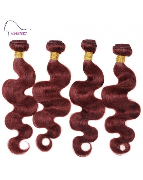 20 Inch Red Brown Brazilian Body Wave Human Hair Extensions 4 Bundles/Pack