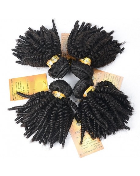 20 Inch Afro Kinky Curly Brazilian Hair Weaves Natural Black Hair Extensions 4 Bundles