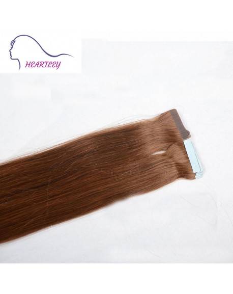 18 Inch Medium Brown Tape Extensions Brazilian Remy Human Hair