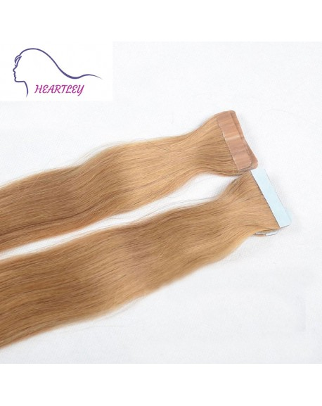 """18"""" Strawberry Blonde Tape Natural Hair Extensions Brazilian Remy Straight Human Hair"""