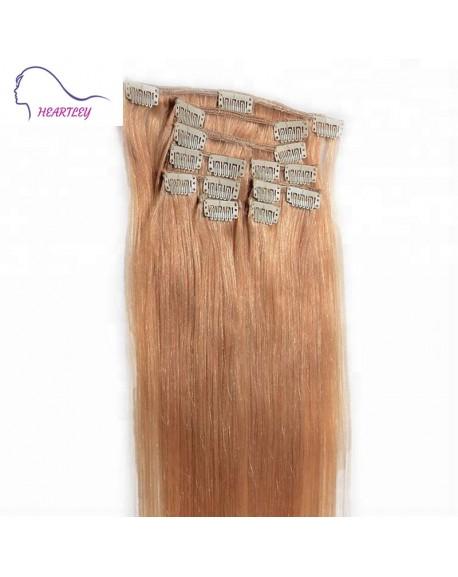 20 Inch Strawberry Blonde Brazilian Remy Straight Clip On Hair Extensions Real Human Hair 9 Pieces/Set