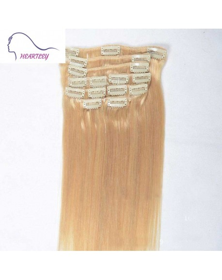 18 Inch Blonde Silky Straight Clip in Hair Extensions Brazilian Remy Human Hair