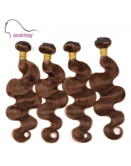 18 Inch Medium Brown Body Wave Brazilian Real Human Hair Extensions 4 Bundles