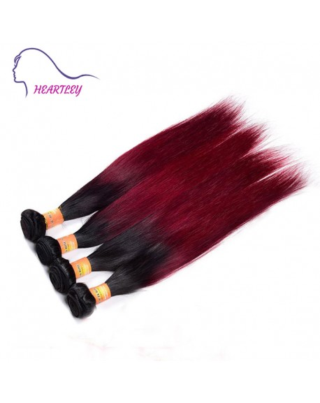 22 Inch Black Burgundy Ombre Natural Straight Hair Weaves Brazilian Remy Human Hair Extension 4 Bundles