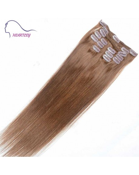 22 Inch Chestnut Brown Brazilian Remy Clip In Hair Extensions Natural Human Hair Straight