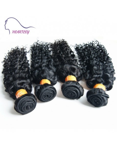 20 Inch Black Indian Virgin Curly Hair Weaves 4 Bundles Human Hair Extensions