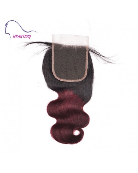 Free Part Body Wave 4x4 Lace Closure Black Burgundy Ombre Brazilian Human Hair Hand-Tied Pieces