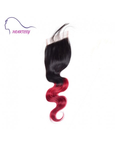 Lace Closure Free Part 4x4 Body Wave Brazilian Human Hair Piece with Baby Hair Ombre Color