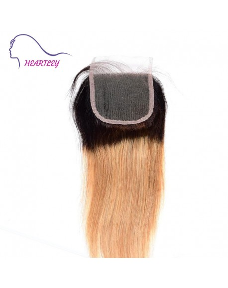 "1B/27 Ombre Brazilian Hair Straight Black to Strawberry Blonde Human Hair 4x4"" Free Part Lace Closure"