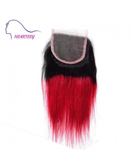 Free Part 4x4 Lace Closure Black Burgundy Ombre Brazilian Hair Weave Straight 10-22 Inch