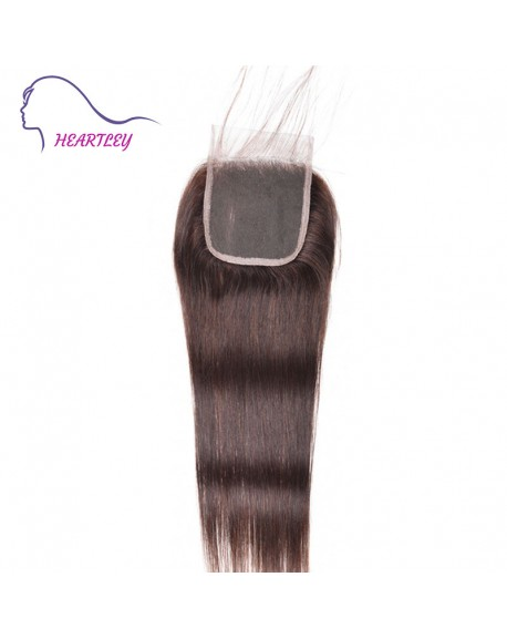 Brazilian Human Hair Straight 4x4 Lace Closure Pieces Dark Brown