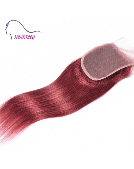 "4""x4"" 130% Density Swiss Lace Closure Pieces Red Brown Straight Brazilian Human Hair"