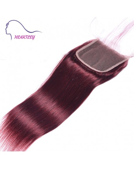 "Hand Tied 4x4 Lace Closure with Baby Hair 10-20"" Straight Burgundy Brazilian Closure Hair Pieces"