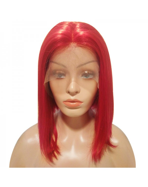 150 Density Brazilian Red Lace Front Human Hair Bob Wigs