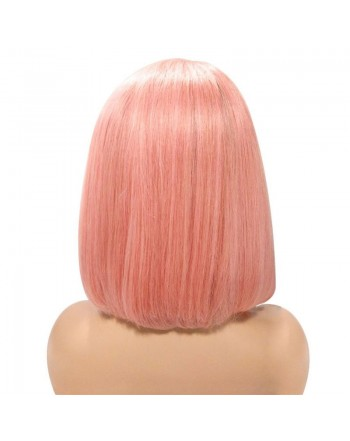 150 Density Human Hair Dark Root Ombre Pink Lace Front Bob Wigs