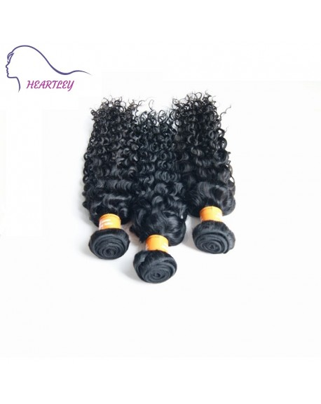 HEARTLEY 100% Indian Virgin Curly Hair Weaves 3 Bundles 100g/pcs Nature Color Hair Extensions