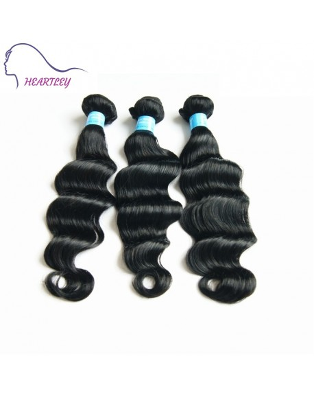 HEARTLEY Peruvian Virgin Hair Deep Wave 3 Bundles Hair Extensions Bundle Natural Black