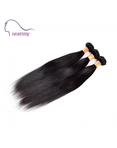 HEARTLEY Peruvian Remy Hair Silky Straight Hair Weaves 3 Bundles Nature color  Hair Extensions