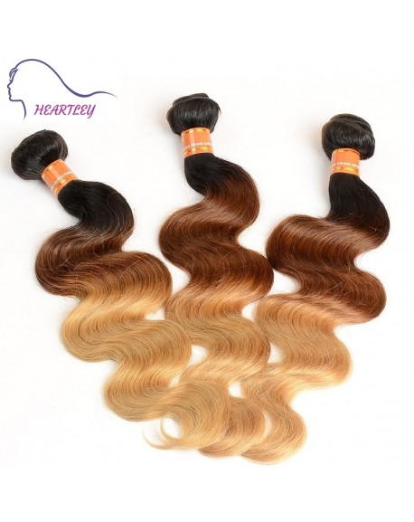 HEARTLEY Body Wave Ombre 3 Tone Virgin Brazilian Hair Weaves Ombre 1B/4/17 Fashion Hair Extensions