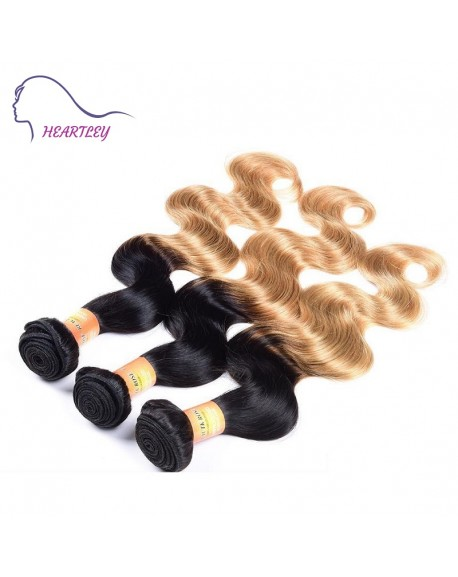 HEARTLEY Fashion Two Tone Hair Weaves Brazilian Remy Ombre Hair Extensions 3pcs/Pack