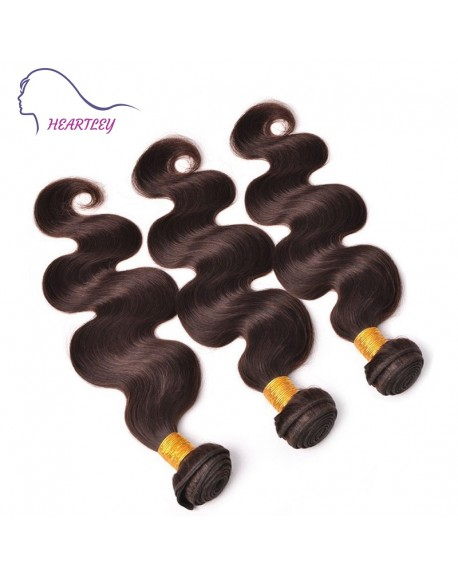 HEARTLEY Premium Brazilian Hair Dark Brown 3 Bundles Body Wave Pure Color Hair Extensions