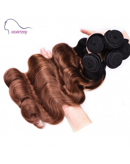 HEARTLEY Fashion Two Tone 1B/30 Brazilian Ombre  Body Wave Hair Extensions 3pcs/Pack