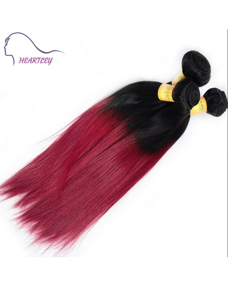 HEARTLEY Trendy Silky Straight Ombre 1B/99J Two Tones Hair Weaves Remy Malaysian Hair Extensions