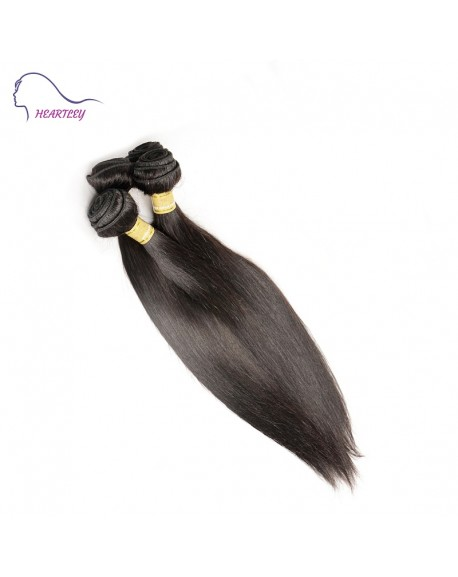 HEARTLEY Brazilian Remy Hair Silky Straight Hair Weaves 3 Bundles Nature color  Hair Extensions