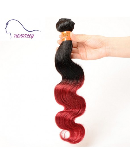 HEARTLEY Ombre Body Wave Style 01/Burg Color Brazilian Hair Extensions 3pcs/Pack